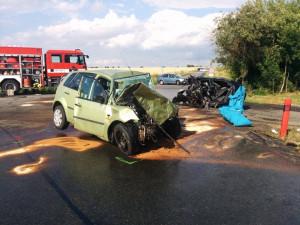 Následky nehody u Vnorov