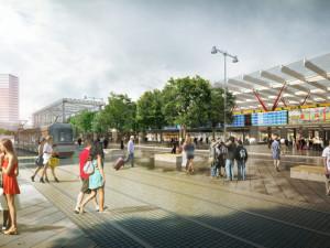 Vizualizace nádraží u řeky