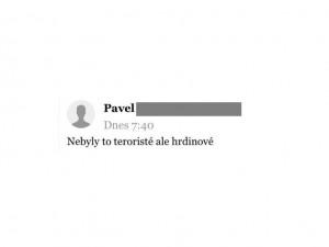 Jeden z vybraných komentářů na serveru Novinky.cz oslavující teroristický útok na Novém Zélandu