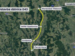 Plánovaná trasa silnice/dálnice 43