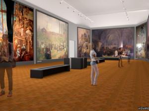 Vizualizace nové expozice Alfonse Muchyv Moravském Krumlově